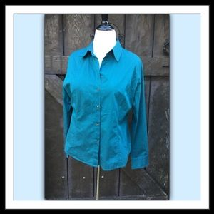 New York & Company Button Front Blouse, Teal, XL